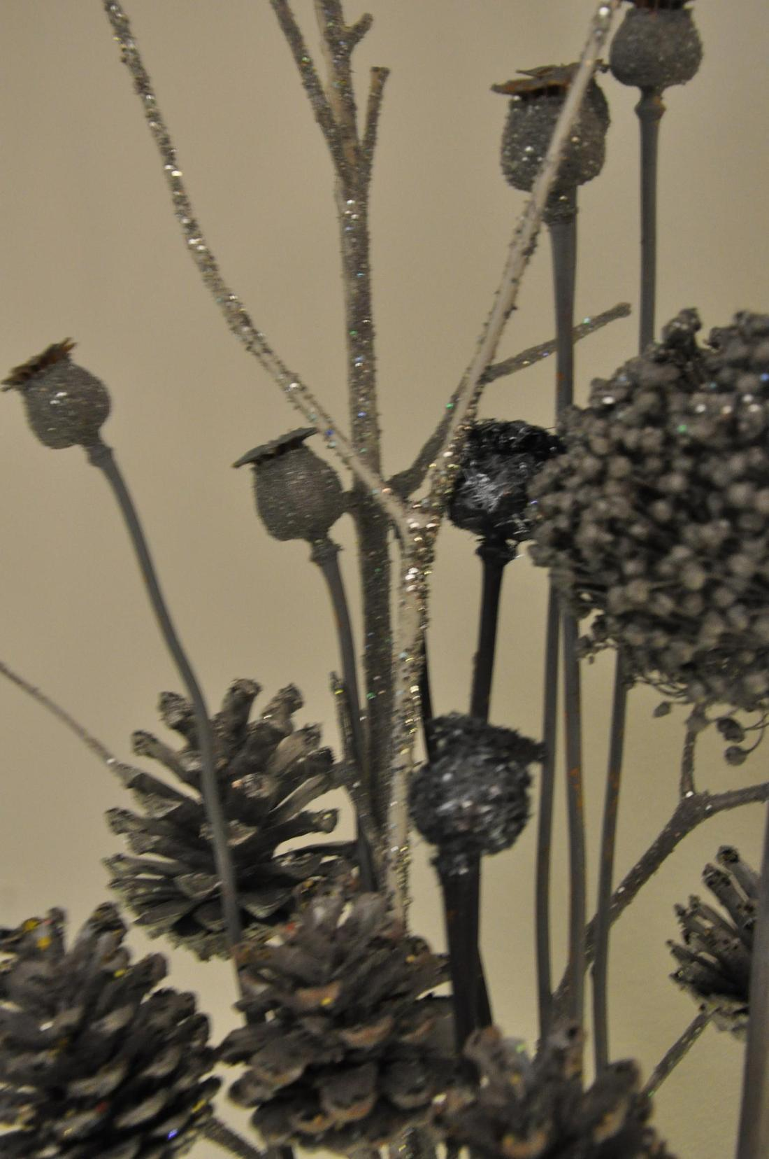 silver sprayed seed heads