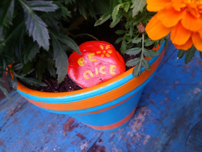 be nice painted stone and pot